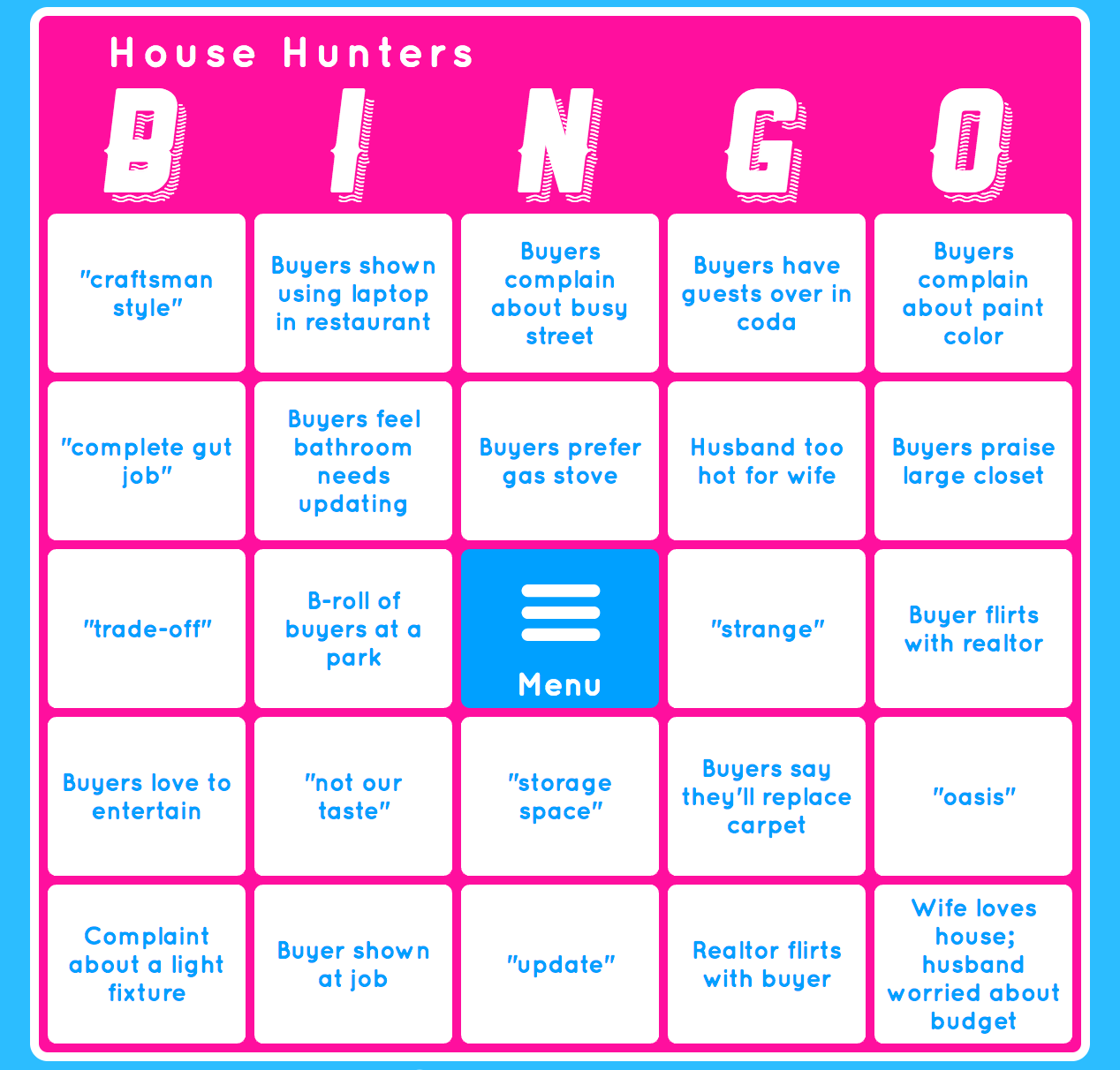house hunters hgtv bingo