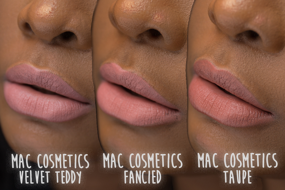MAC Fancied vs Velvet Teddy vs Taupe comparison on dark skin swatches