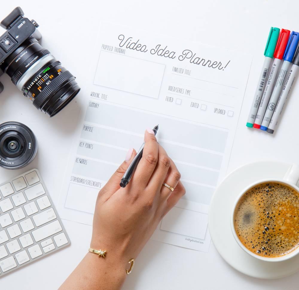 youtube video idea planner worksheet for side hustles